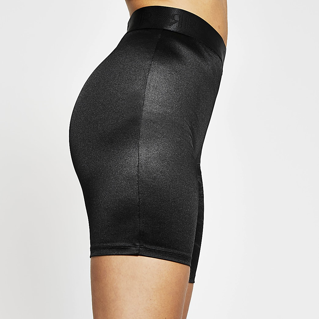 Intimates black satin cycling short