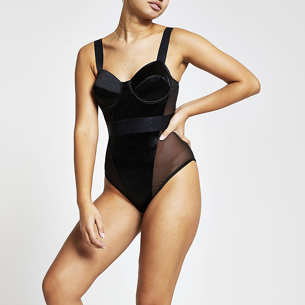 Intimates black satin RI branded bodysuit