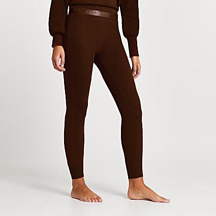 Intimates brown RI ribbed leggings