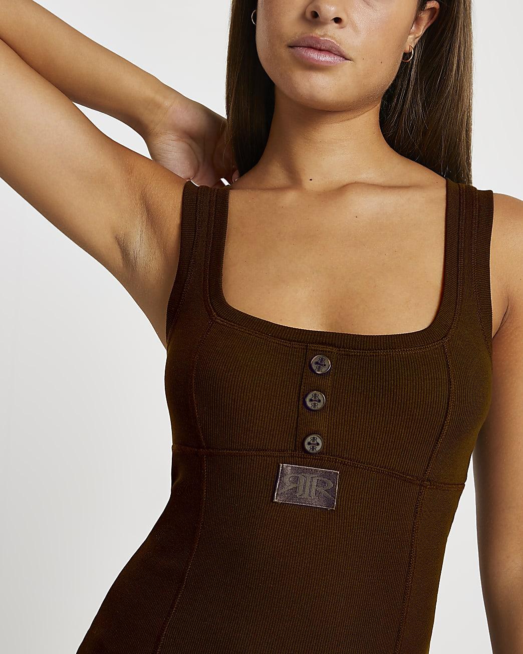 Intimates brown 'RIR' vest top