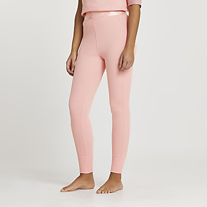 Intimates coral seam detail ribbed leggings