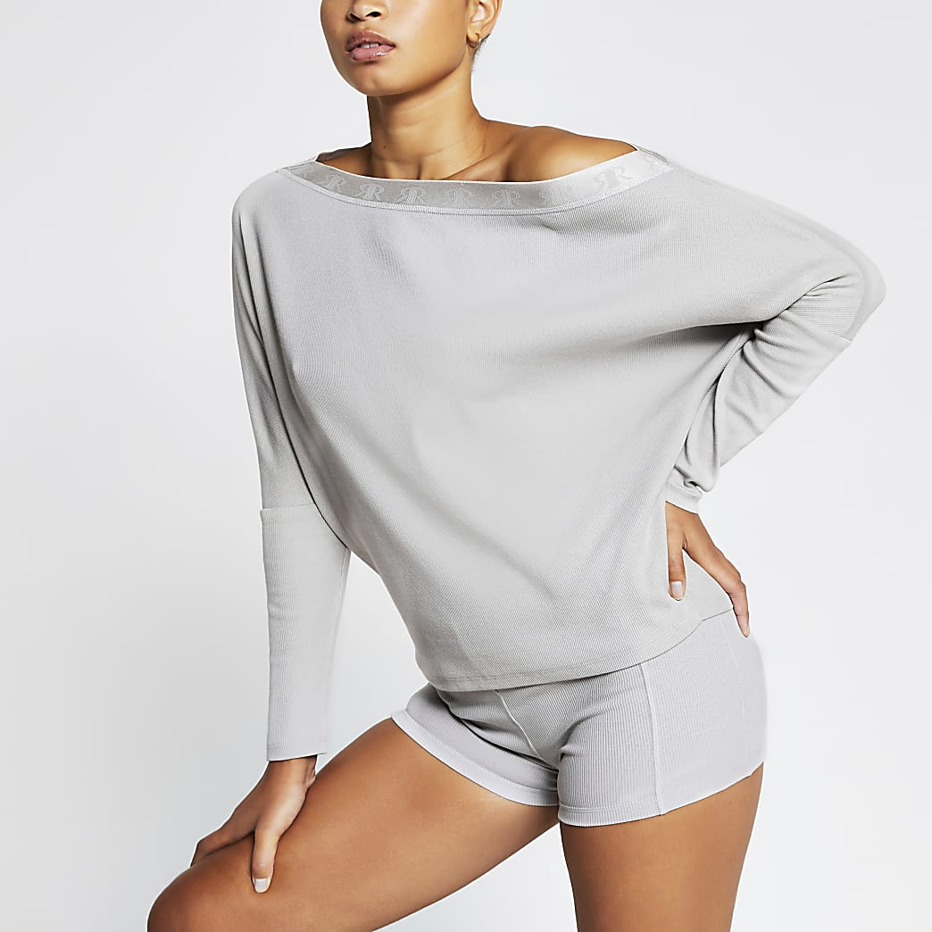 Intimates grey asymmetric RI sweatshirt
