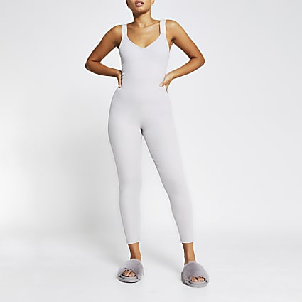 Intimates grey fitted ribbed RI unitard