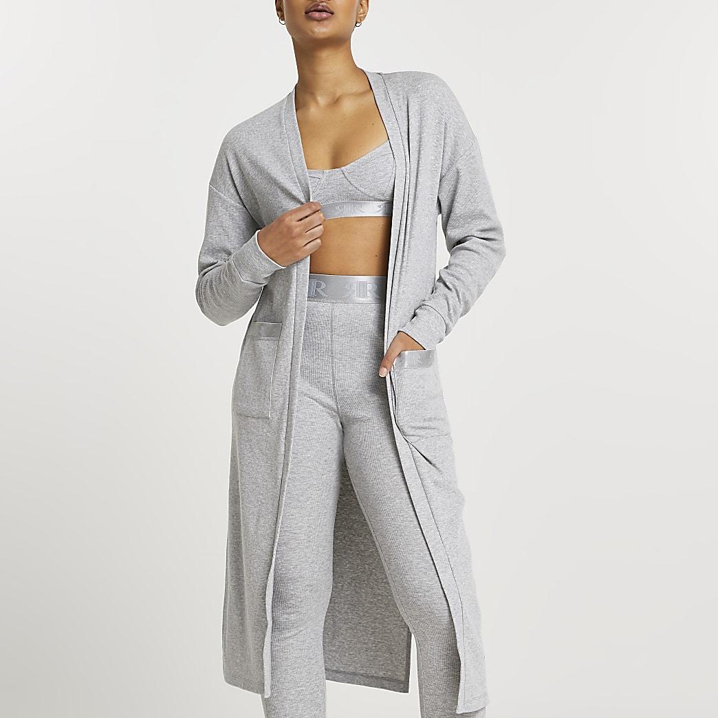 Intimates grey longline rib cardigan