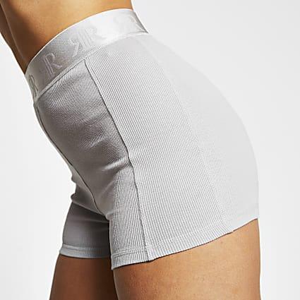 Intimates grey ribbed RI branded hot pant