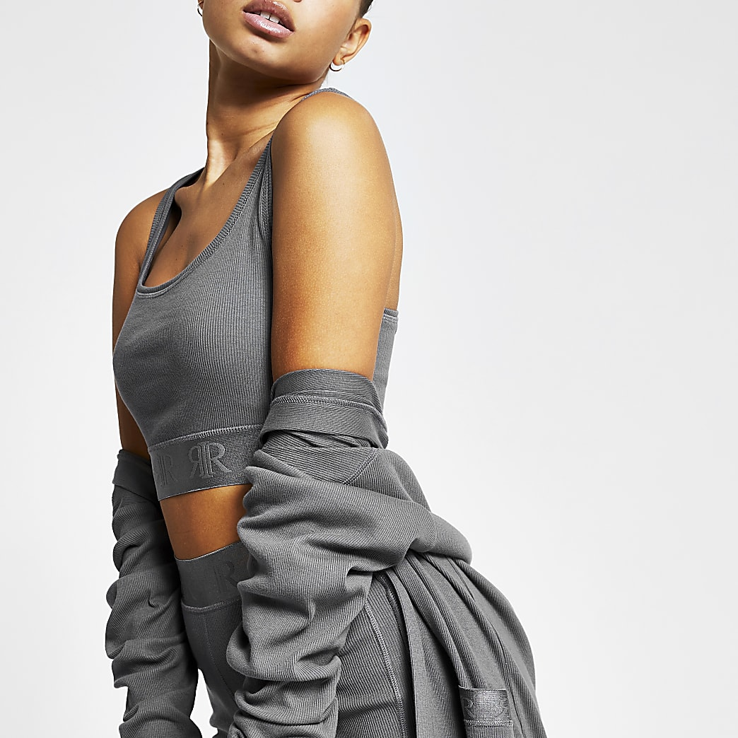 Intimates grey sleeveless RI racer crop top