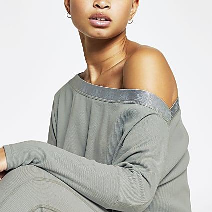 Intimates khaki asymmetric sweatshirt