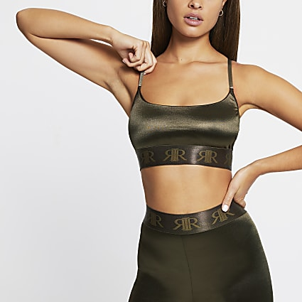 Intimates Khaki satin RI branded crop top