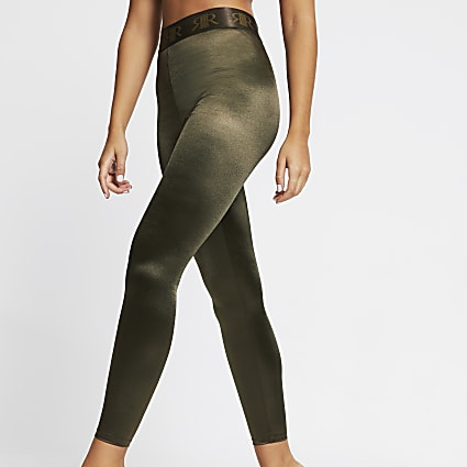 Intimates khaki satin RI branded leggings