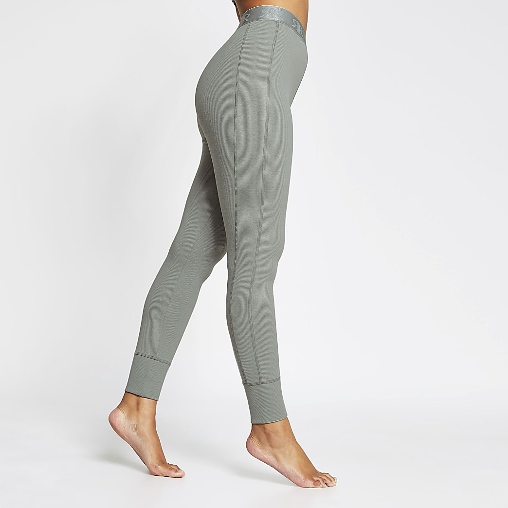 Intimates khaki seam detail ribbed leggings