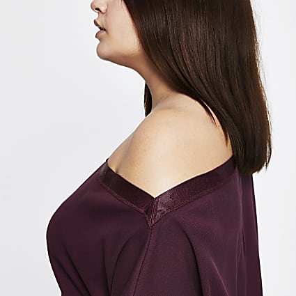 Intimates Plus purple asymmetric sweatshirt