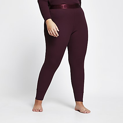 Intimates Plus purple ribbed leggings