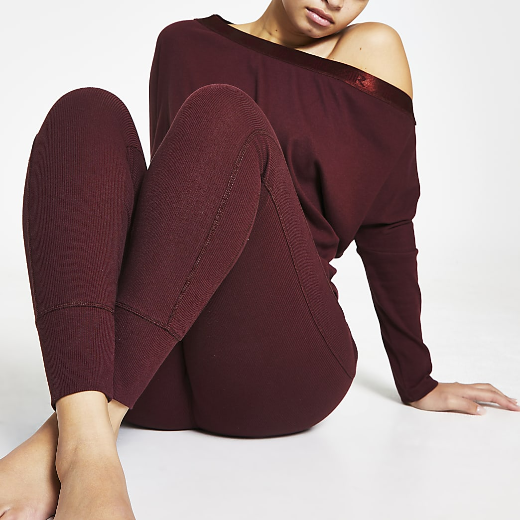 Intimates purple seam detail ribbed leggings
