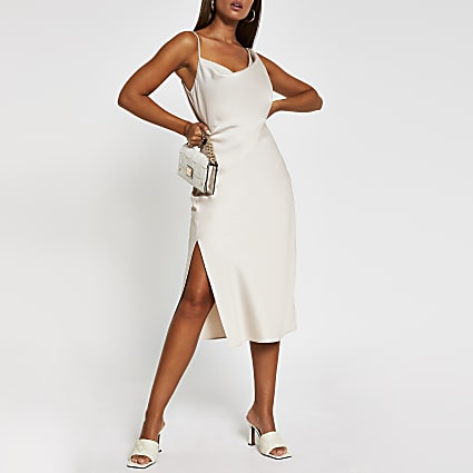 Ivory Asymmetric midi slip dress