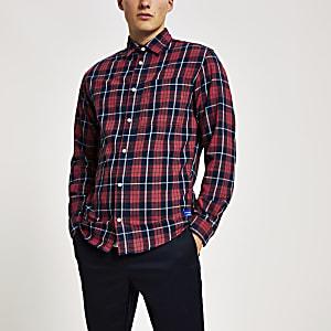 Jack & Jones - Chemise manches longues rouge à carreaux