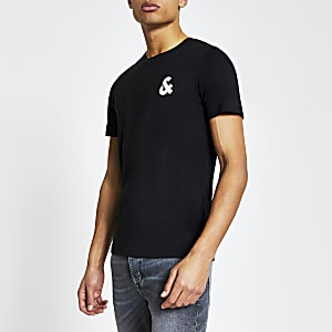 "Jack & Jones – Schwarzes T-Shirt ""&"""