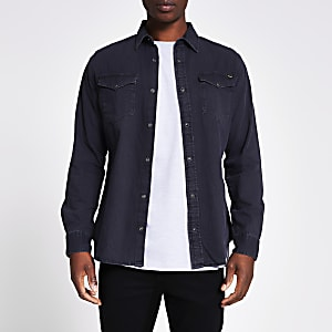 Jack and Jones - Zwart denim overhemd