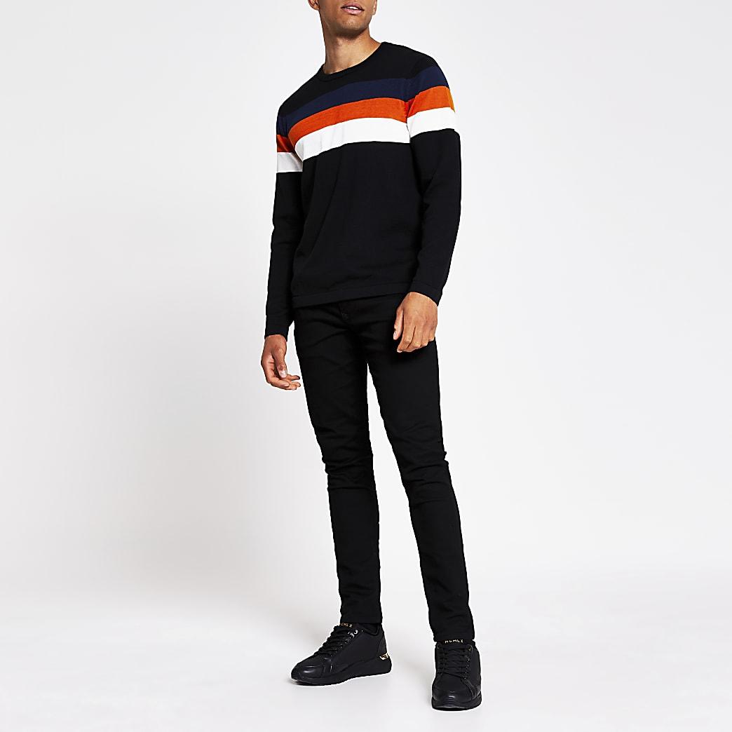 Jack and Jones black knit jumper