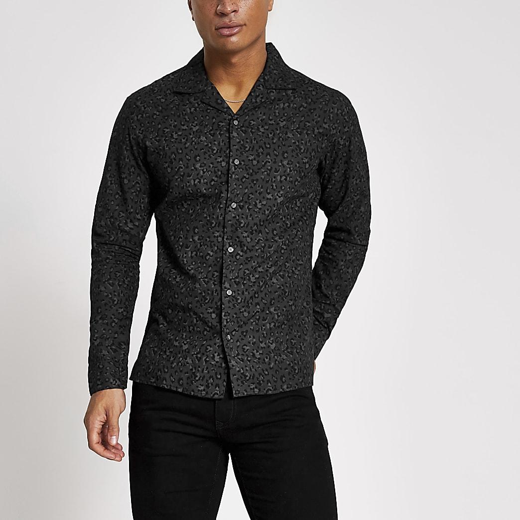 Jack and Jones black leopard print shirt