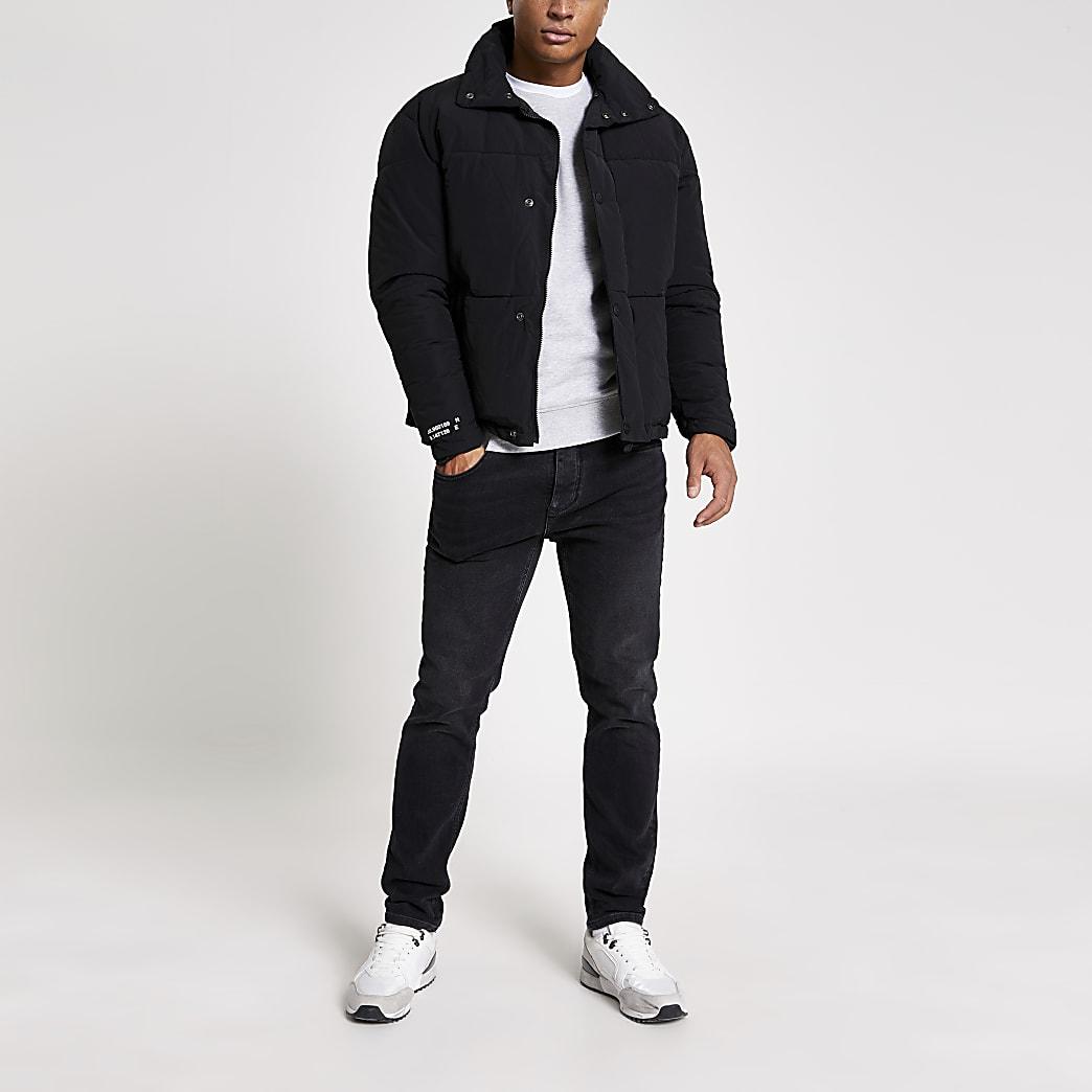 Jack and Jones - Zwarte gewatteerde korte jas