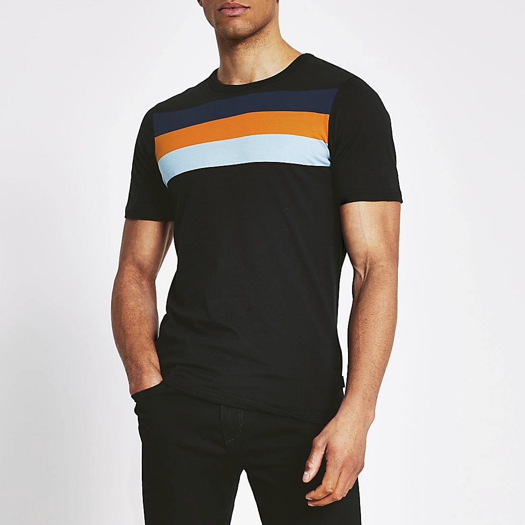 Jack and Jones - Zwart T-shirt met streepvlakken