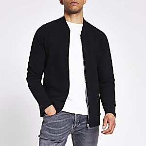 Jack & Jones – Gerippte Bomberjacke in Schwarz