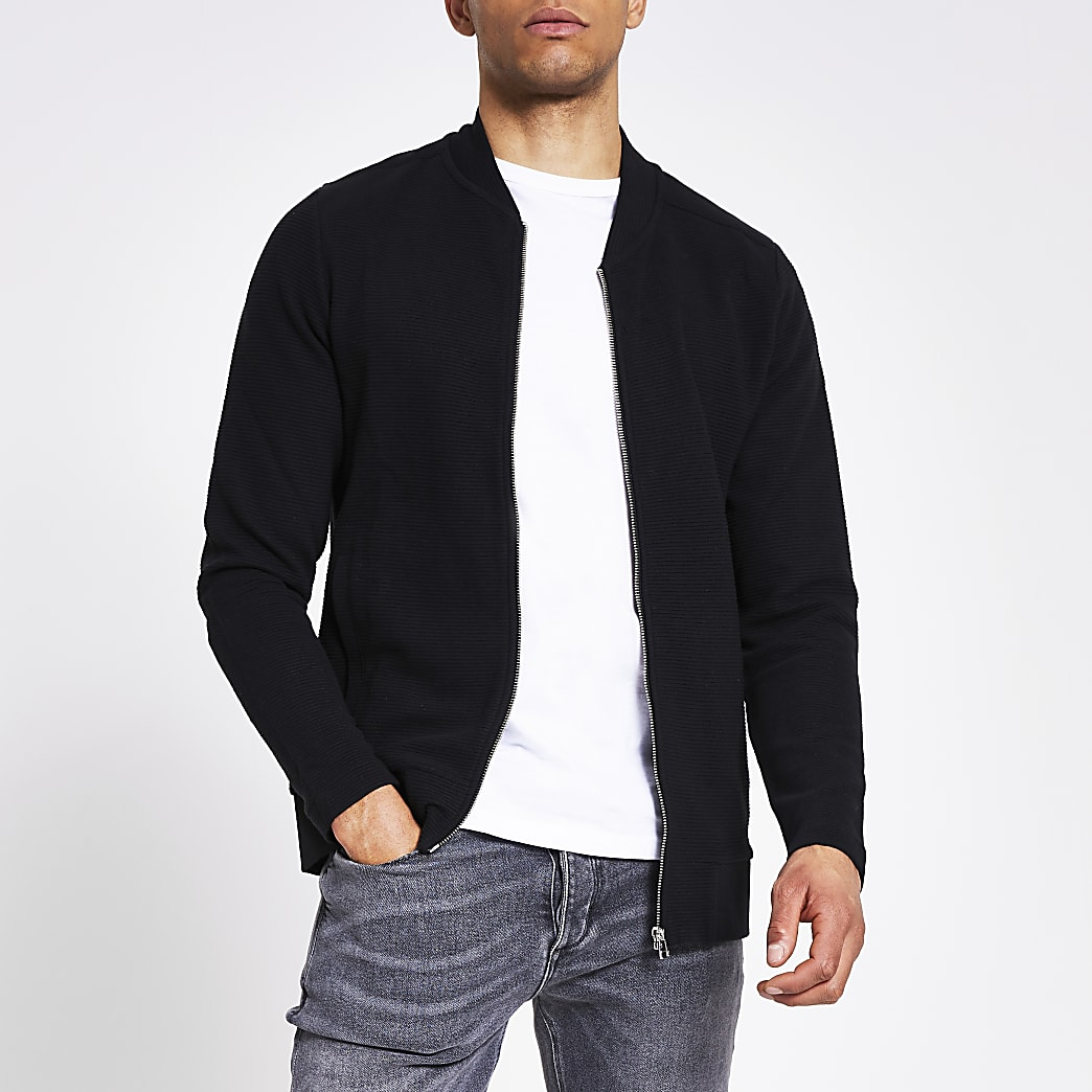 Jack and Jones - Zwart geribbeld bomberjack