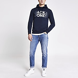 Jack and Jones blue printed hoodie