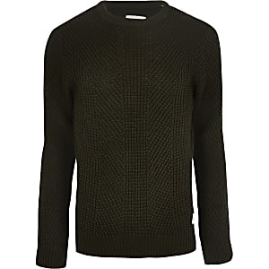 Jack and Jones – Dunkelgrüner Strickpullover
