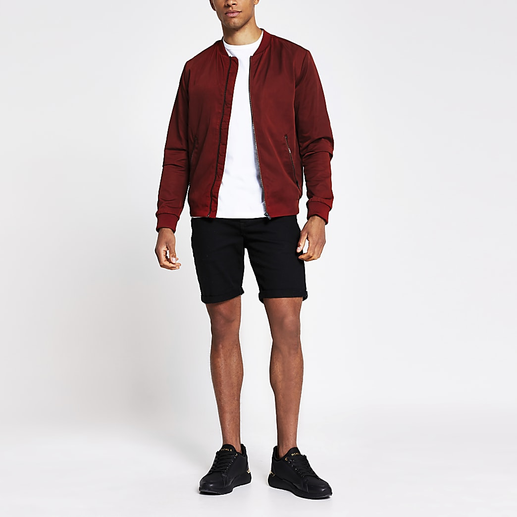 Jack and Jones dark red bomber jacket