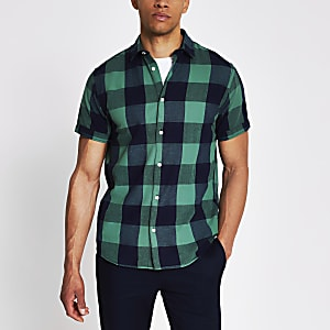 Jack and Jones green and navy check shirt