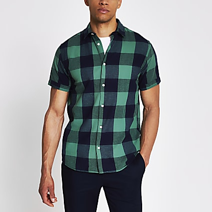 Jack and Jones green and navy check shirt