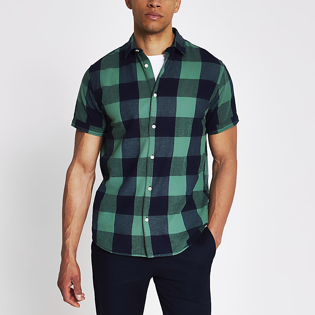 Jack and Jones - Groen en marineblauw geruit overhemd