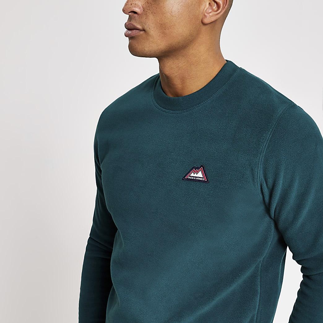 Jack and Jones green fleece sweatshirt