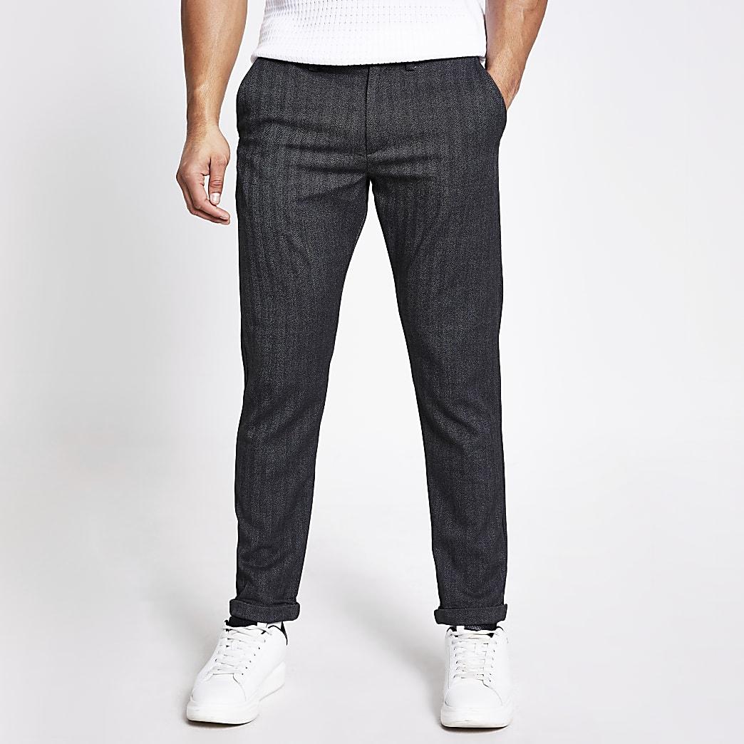 Jack and Jones grey herringbone trousers