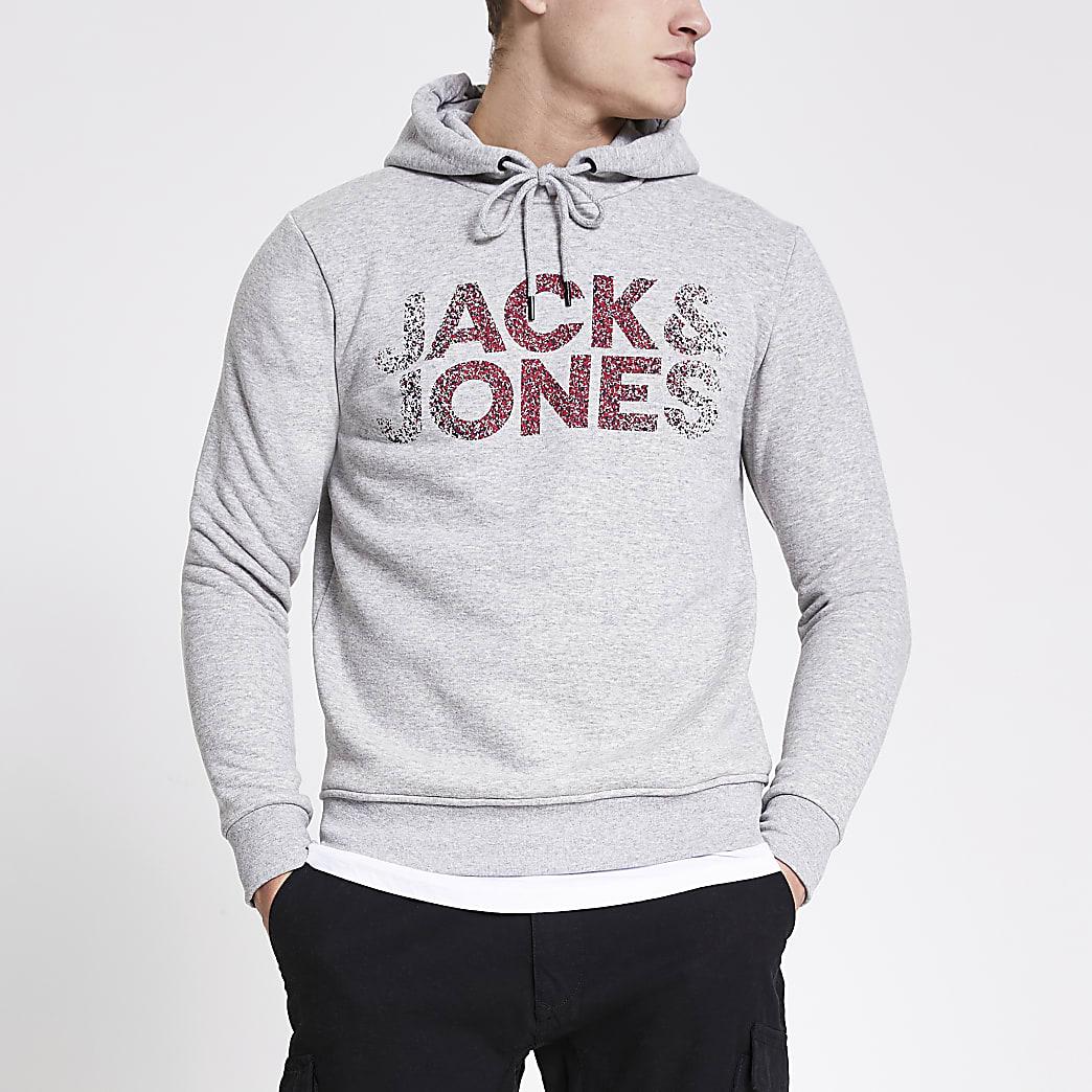 Jack and Jones - Grijze hoodiemet print