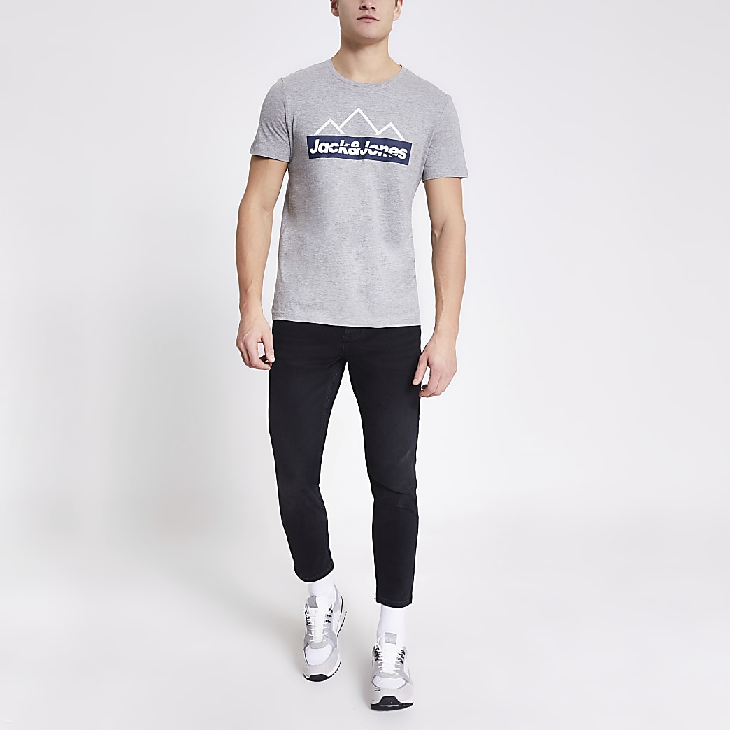 Jack and Jones grey printed T-shirt