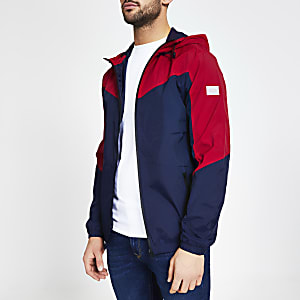 Jack & Jones – Marineblaue Jacke in Blockfarben