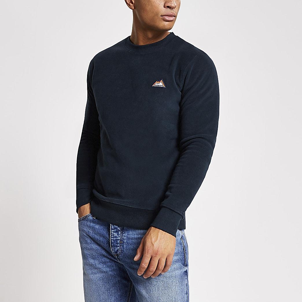Jack and Jones - Marineblauwe fleece sweater