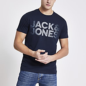 Jack & Jones – Marineblaues, bedrucktes T-Shirt