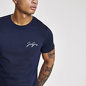 Jack and Jones - Marineblauw T-shirt met print