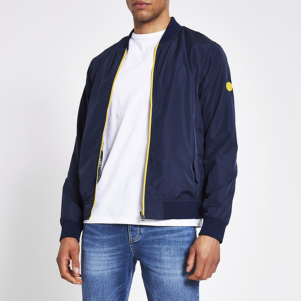 Jack and Jones navy reversible bomber jacket