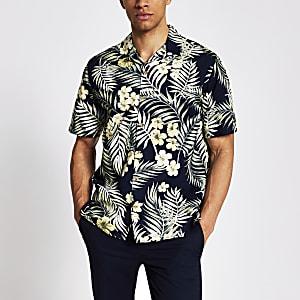 Jack & Jones – Marineblaues Hemd mit tropischem Print