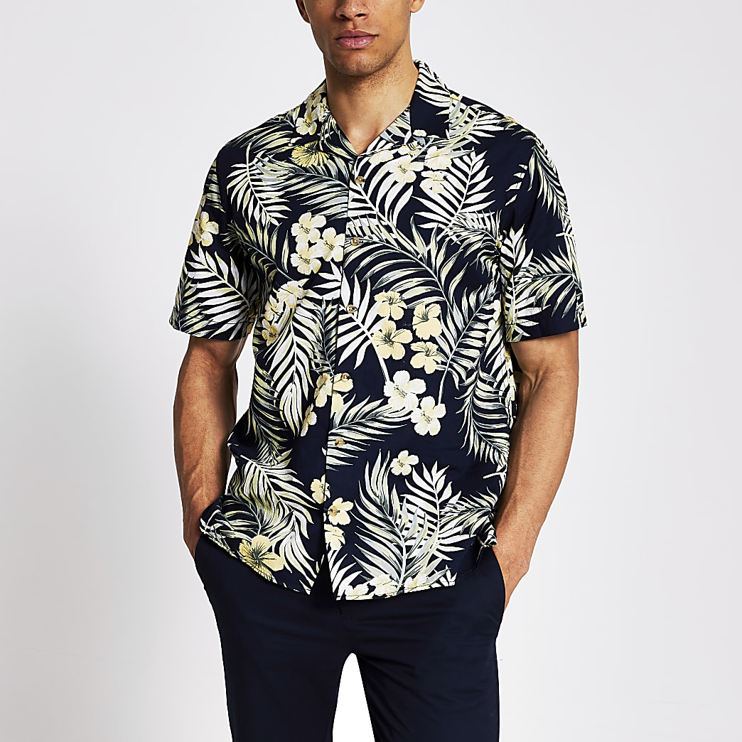 Jack and Jones navy tropical print shirt