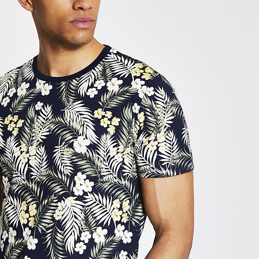 Jack and Jones - Marineblauw T-shirt met tropische print