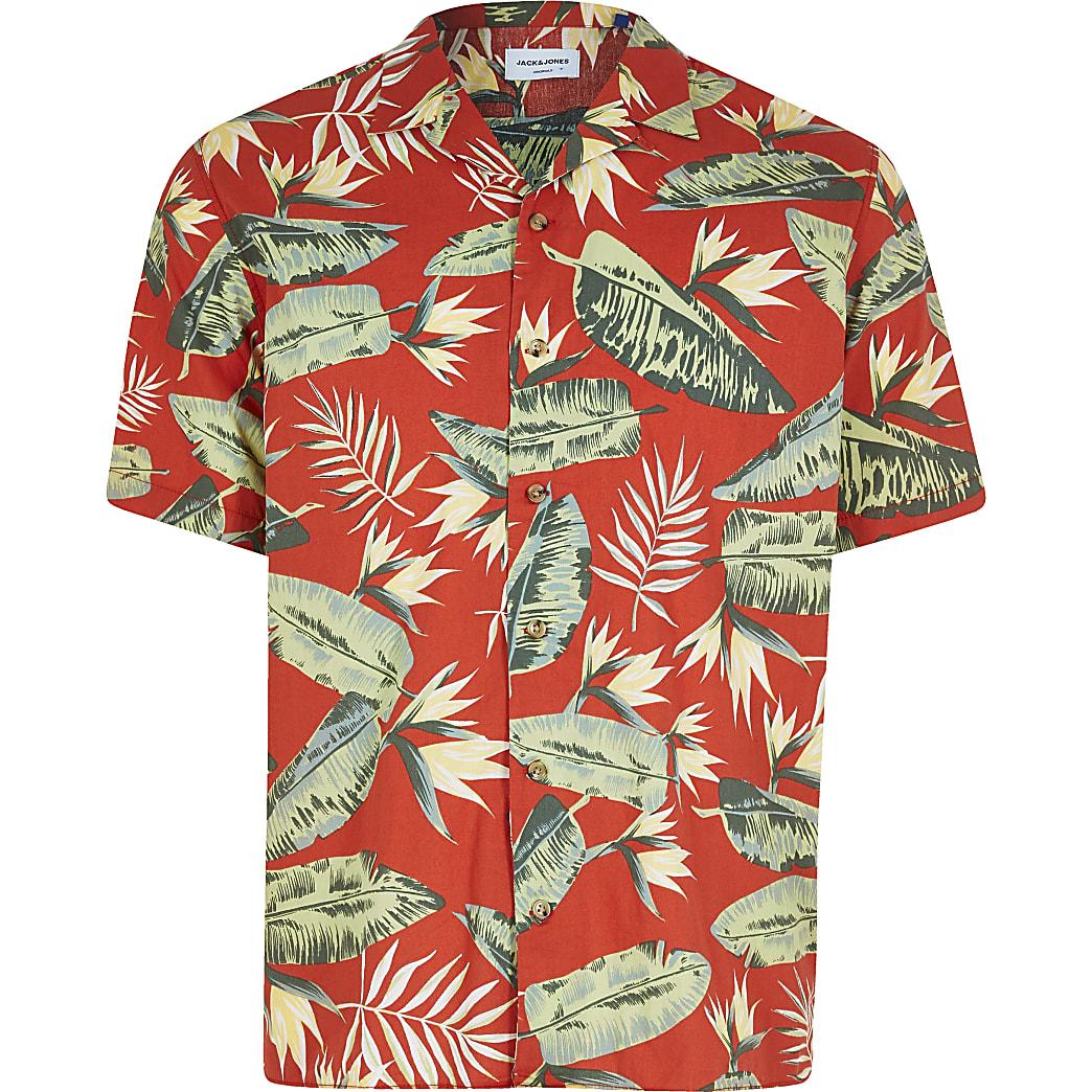 Jack and Jones - Rood overhemd met print