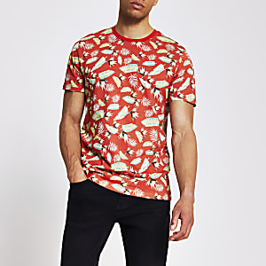 Jack and Jones – Rotes T-Shirt mit Print