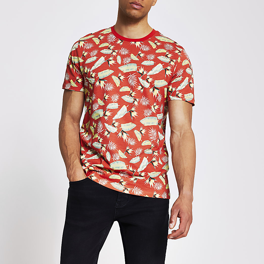 Jack and Jones - Rood T-shirt met print