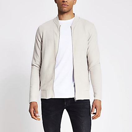 Jack and Jones stone ribbed bomber jacket