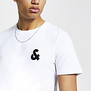 "Jack & Jones – Weißes T-Shirt ""&"""